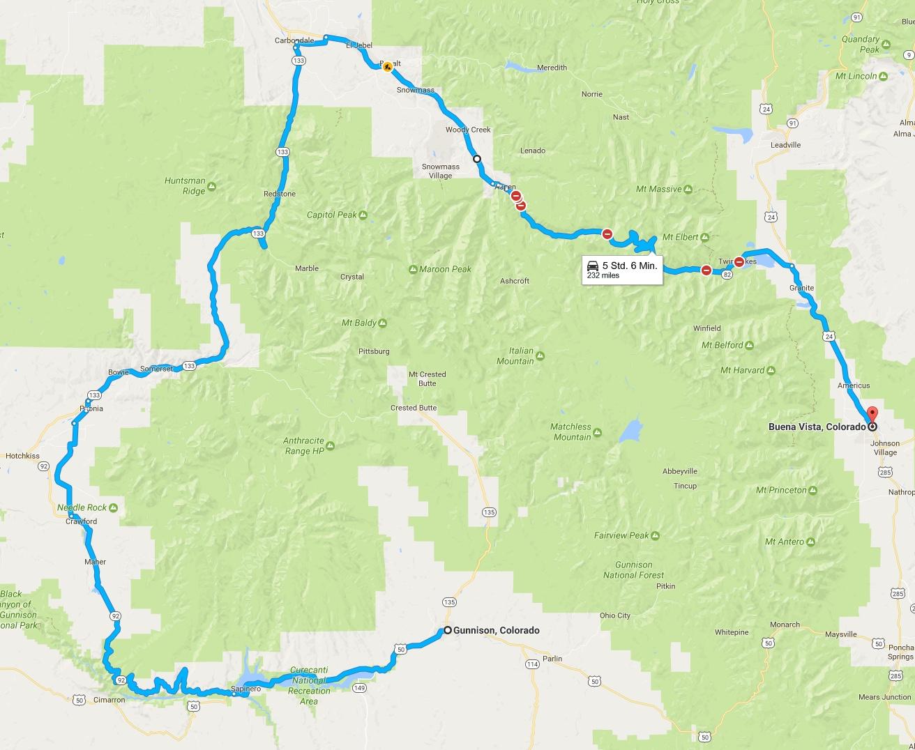 Von Buena Vista über Aspen nach Gunnison
