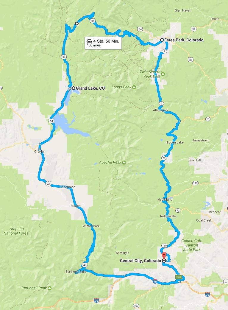 Rocky Mountain National Park, von Central City  über das Alpine Visitor Center nach Grand Lake und weiter nach Central City