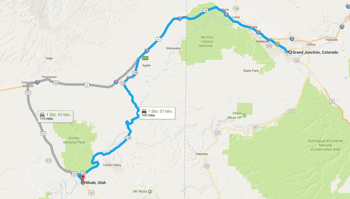Von Grand Junction nach Moab