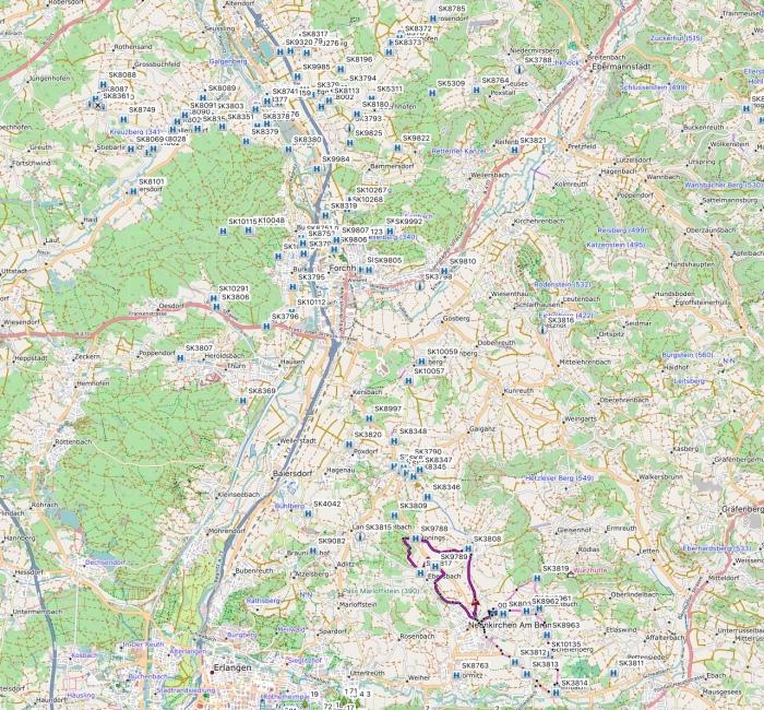 Karte mit Sühnekreuze