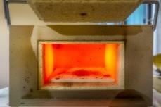 Brennofen, vorgeheizt auf 850 °C