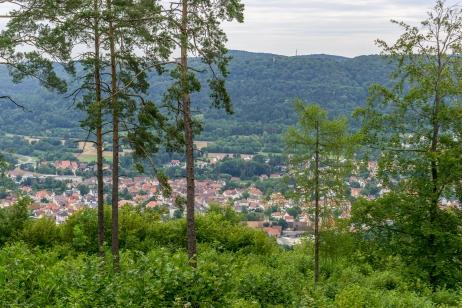 Blick vom Burgstall hinunter nach Ebermannstadt