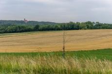 Blick über Äcker und Wiesen zur Burg Feuerstein