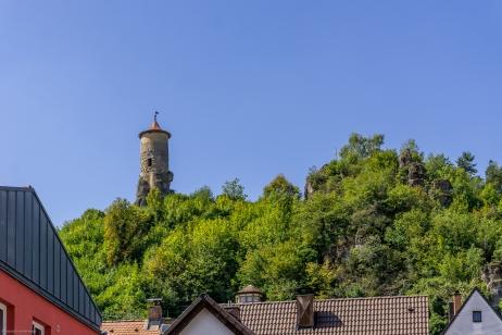 """Waischenfeld mit seinem Wahrzeichen dem """"Steinerner Beutel"""""""