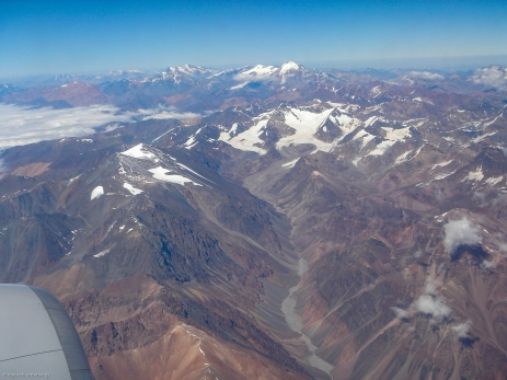 hoch über den Anden auf dem Weg nach Santiago de Chile
